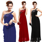 Beaded One Shoulder Long Prom Evning Dress Party Ball Gown 09659 AU Size 8-18