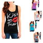Choose size and color!-S M L XL- Stretchy,Lips Print with Rhinestones Tank Top