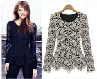HOT Fashion Women's Long Sleeve Crew Collar Lace Blouse Top Shirts