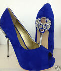LYDC Ladies Designer High Heel Wedding Party Diamante Peep Toe Blue Suede Shoes