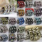 Lots Motley Crystal Spacer European Large Hole Beads Fit Charm Bracelet MIX75-93