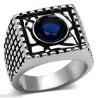 Round Shape Dark Blue Stone Silver Stainless Steel Mens Ring