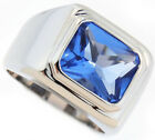 Mens Solitaire Light Sapphire Blue Silver Rhodium Plated Ring