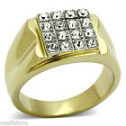 Mens Modern Shape Crystal Stones Two Tone Gold Plated Stainless Steel Ring