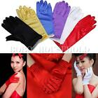 Ladies Short Smooth Satin Wrist Gloves Great For Wedding Evening Prom 6 Colors