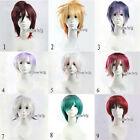 Colors Mixed Style Short Layered Cosplay Men Women Anime Hair Wig + Free Wig Cap