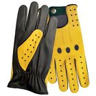TOP QUALITY REAL SOFT LEATHER MENS DRIVING GLOVES BLACK WITH YELLOW STAR MEN-507