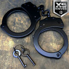 Police Handcuffs BLACK STEEL Double Lock REAL Hand Cuffs w Keys Authentic JC02