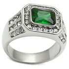Mens Emerald Green Stone Silver Stainless Steel Crystal Ring