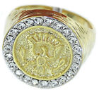 Mens Presidential Seal 18kt Gold Plated Ring New
