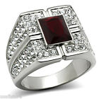 Mens Dark Red Stone with Full Crystal Silver Stainless Steel Ring