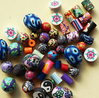 Mixed handmade polymer clay Fimo beads - 8mm, 10-12mm, spacers - FREE UK POST