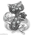 Ladies Cat Kitty Crystal Stones Silver White Gold EP Ring Size 5-6-7