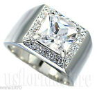 Mens 2.71 Carat Princess Cut Clear CZ Stone Rhodium Plated Ring