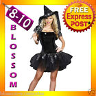 I14 Ladies Black Witch Gothic Halloween Fancy Dress Adult Costime Party Outfit