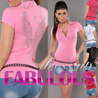 NEW SEXY WOMEN'S TOP Size 6 8 10 LADIES PARTY CASUAL SPORT POLO SHIRT TATTOO