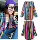 Lady Batwing Boho Ethnic Stripe Knitted Button Sweater Cardigan Top Coat Outwear