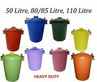 Coloured Bins 50L 80/85L 110L Litre Heavy Duty Plastic Garden Homes Animal Feed
