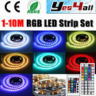 1-10M LED RGB Strip 60/m SMDs 5050 light+DC Transformer Power supply Set Indoor