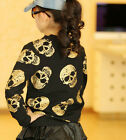 1710 Boutique Looped Pile Cotton Zipper Jacket Gold Skull Print Allover So Funky