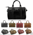 Ladies Womens Skull Leather Style Stud Studded Barrel Satchel Hobo Tote HandBag