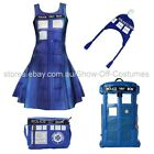 DR WHO POLICE BOX SATCHEL BACKPACK HAT SKATER DRESS COSPLAY FANCY DRESS