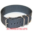 PREMIUM ZULU 3 Ring GREY 20mm,22mm,24mm Military Diver's NYLON watch strap band