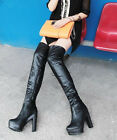 Womens High Chunky Heel Platform Shoes Ruched Over Knee Height Alluring Boots