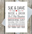 PERSONALISED WEDDING DAY CARD CONGRATULATIONS LOVEBIRDS HEARTS NAMES DATE MULTI