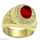Red Dome Stone 18kt Gold EP Mens Ring