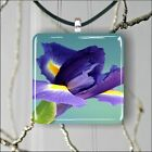 FLOWER IRIS SQUARE PENDANTS NECKLACE MEDIUM OR LARGE dvtr56