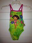 NEW Toddler Girls DORA THE EXPLORER Lime Green Hot Pink Bathing Swim Suit