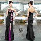 Sexy Black Purple Womens Strapless Sweetheart Long Evening Formal Dresses 09928