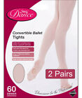 2 Pairs Silky Childrens Girls Pink Convertible Foot Dance Ballet Tights 2 Pairs
