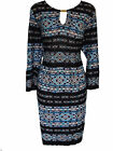 EX EVANS BLACK/BLUE/MULTI GOLD BAR TUNIC TOP/DRESS - PLUS SIZE 16 - 26/28-30/32