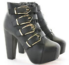 Womens Heeled Zip Booties High Heels Shoes Platform Ankle Boots Size