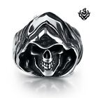 Silver Death grim reaper skull solid ring stainless steel band soft gothic