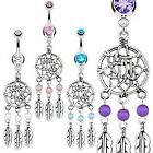 Surgical Steel Dream Catcher Belly Bar with Bead Based Feathers Fancy Navel Ring