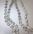 SS40 8mm Clear crystal glass rhinestones close Silver cup trims chain Applique