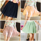 2015 Candy Colors Retro Double Chiffon High Waist Short Pleated Mini Skirt Dress