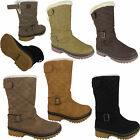 LADIES WOMENS QUILTED WINTER GRIP SOLE MID CALF FUR WARM SNOW BOOTS SHOE SIZE UK