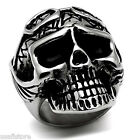 Mens XL Biker Skull Head Silver Stainless Steel Ring