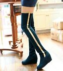 Hot New Long Tall Over Knee Boots Wedge Soft Gold Line women Shoes AU sizes H185