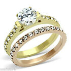 2.3ct  Yellow & Rose Gold EP Wedding Engagement Ladies Ring Set