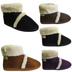 New Ladies Faux Suede Fur Coolers Warm Comfort Winter Ankle Boots Snugg Shoes Sz