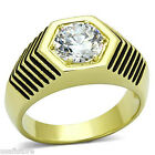 Mens 2 Karat Clear CZ Stone Gold Plated Stainless Steel Ring