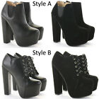 Womens Heeled Booties High Heels Block Shoes Platform Chelsea Ankle Boots Size