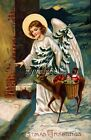 Vintage Christmas Angel & Deer delivering gifts Quilting Fabric Block