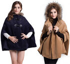 Chic Elegant Fashion Wool Coat Cape Fur Collar Hooded Horn Button Cape Clearance