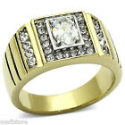 Mens Tutone 0.82ct Oval CZ Stone Gold Plated Stainless Steel Ring